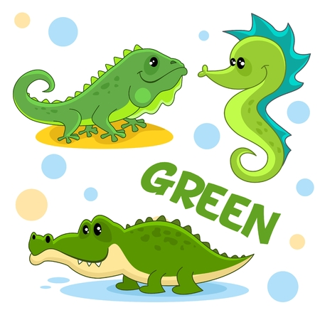 A set of green, cartoon pictures with reptiles and marine animals for children and design, crocodile, aligator, iguana and seahorse. Illustration