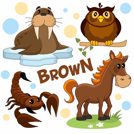 A set of brown, cartoon pictures with birds, insects and animals for children and design, a walrus on an ice floe, a horse, an owl sits on a branch and a scorpion.
