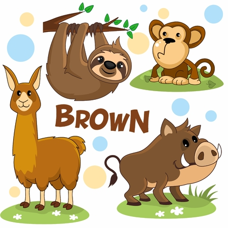 Set of cartoon brown illustrations with wild animals for children and design, image of a wild boar, pig, llama, sloth, monkey, chimpanzee. Foto de archivo - 109912680