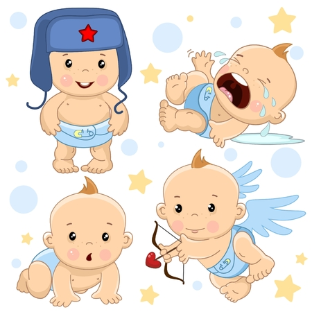 A set of illustrations of icons of a child of a boy, standing in a hat, crying and in hysterics, creeps on all fours, an angel shoots arrows from an onion with a heart.