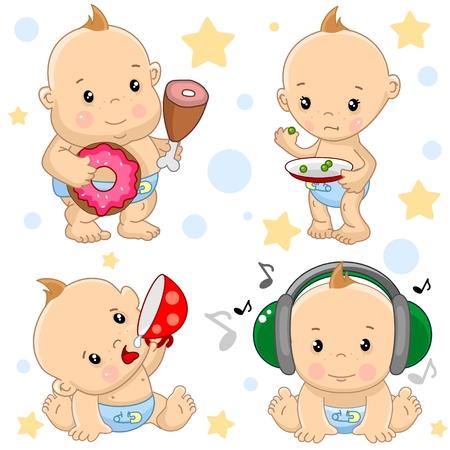 Un conjunto de ilustraciones de iconos de bebé del niño de los delgados y gordos, hambrientos y llenos, con una taza de bebidas, escuchando música en auriculares.