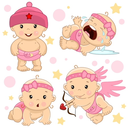 A set of illustrations of icons of the children of the girl in the air, standing in a hat, crying and in hysterics, creeps on all fours, an angel shoots.