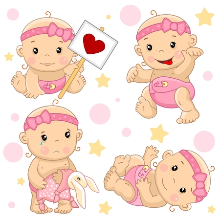 A set of illustrations of icons of baby of children of girls with a sign, goes scary with the tongue sticking out, stands with a hare toy rattled and cries, an angel with wings and with arrows of love. Illustration