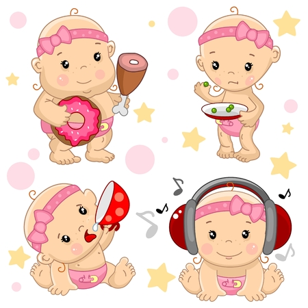 A set of illustrations of icons of baby of the children of thin and fat, hungry and full, with a cup of drinks, listening to music on headphones. Stock Illustratie