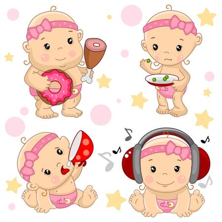 Un conjunto de ilustraciones de iconos de bebé de los niños delgados y gordos, hambrientos y llenos, con una taza de bebidas, escuchando música en auriculares.