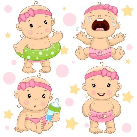 Conjunto de ilustraciones de iconos de bebé de niños de niñas con un salvavidas, histérico y llorando, con un biberón de leche, y está de pie. Ilustración de vector
