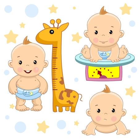 Un conjunto de imágenes de niños pequeños de niños y bebés para el diseño, las tasas de crecimiento, pesadas en balanzas y se arrastra triste.