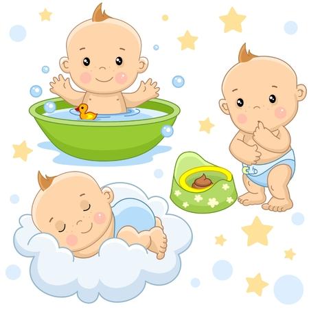 Conjunto de imágenes de niños pequeños de niños y bebés para el diseño, lavándose en el baño con ducha, durmiendo en la nube, mirando la caca en la olla. Ilustración de vector
