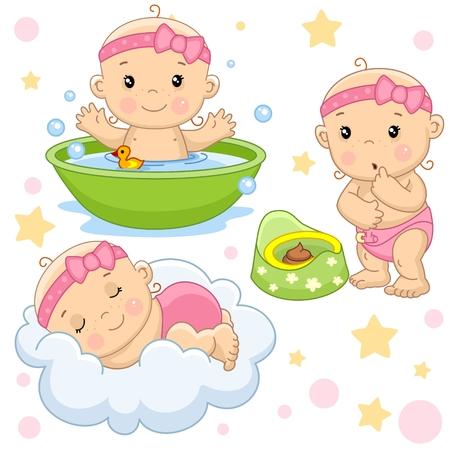 Zestaw zdjęć małych dzieci dziewczynek i niemowlaka do projektowania, mycia w łazience natryskiem, spania na chmurze, patrzenia na łajno w donicy. Ilustracje wektorowe
