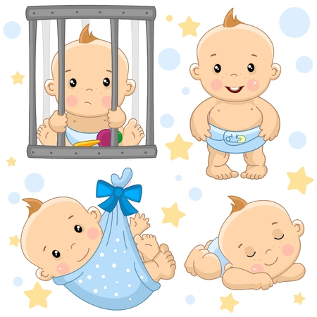 A set of drawings with young boys for design, the boy behind the bars is sad, standing and laughing, wrapped in a diaper bag, sleep and resting. Archivio Fotografico - 109912704