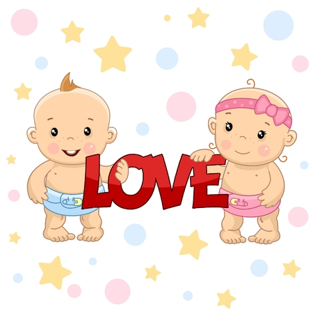 A set of drawings with young children by boys and girls, children holding a red inscription and love letters.