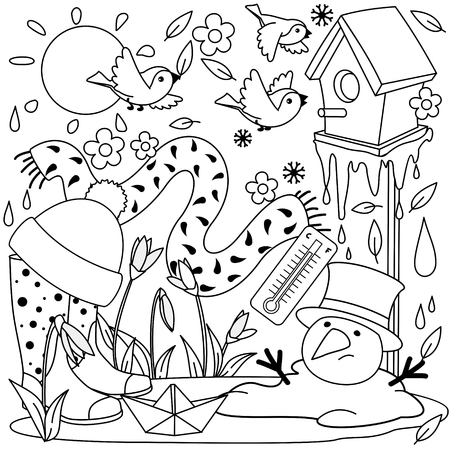 A beautiful black and white spring illustration with spring objects, a birdhouse with birds, a snowman melted, an icicle melts, a puddle, rubber boots, a boat, a thermometer, a hat, a scarf and snowdrops.