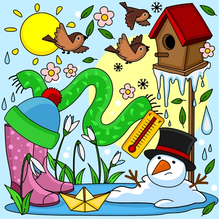 A beautiful colored spring illustration with spring objects, a birdhouse with birds, a snowman melted, an icicle melts, a puddle, rubber boots, a boat, a thermometer, a hat, a scarf and snowdrops.