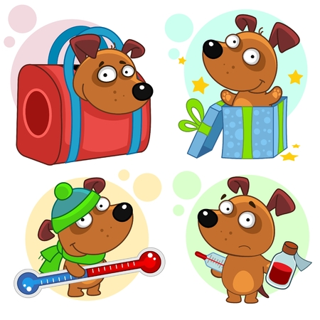Set of cartoon icons for kids and dogs design. He keeps her hands on the bag and keeps his hands on.