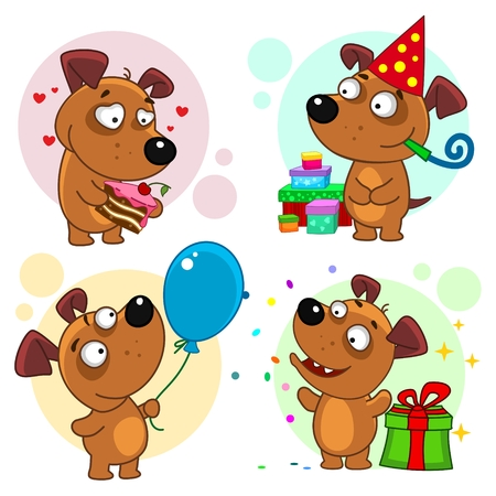 Set of dog cartoon icons for kids.