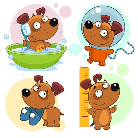Set of cartoon icons for kids and dogs design. He pulls up in the bathroom, he grows up in the bathroom, measures near the ruler.