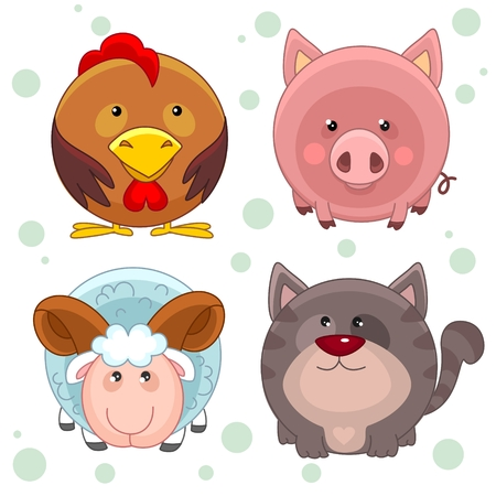 Children, chicken, pig, cat and ram with horns. Round animals inscribed in a circle. Иллюстрация