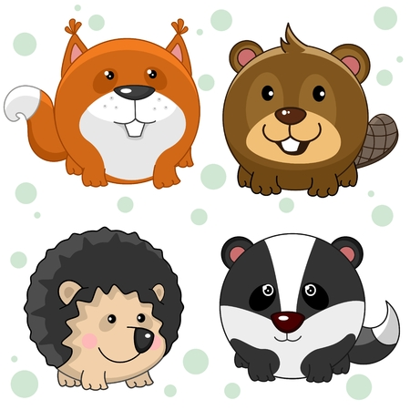 Set of beautiful round animal icons for kids and design. Round wild animals are squirrel, beaver, hedgehog and badger.