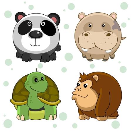 Set of beautiful round animal icons for kids and design. Round wild animals panda, hippopotamus, turtle and chimpanzee monkey. Иллюстрация