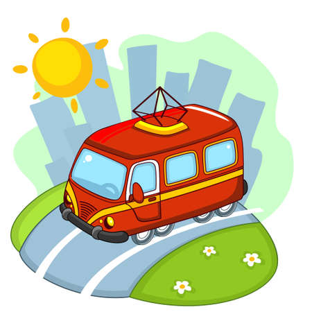 The tram rides along the road through the city. Vector Illustratie
