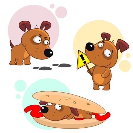 Set of dog cartoon icons for kids.