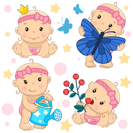 Set of baby cartoon icons for kids.