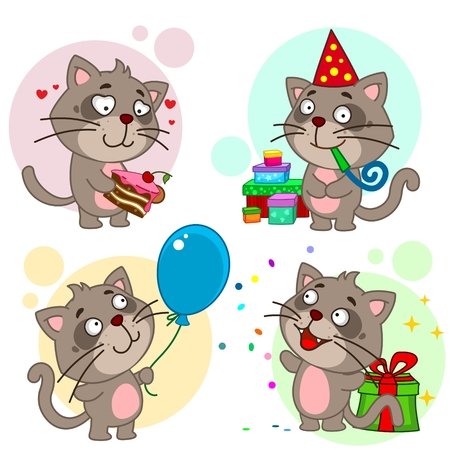 Set of cartoon icons for kids and cats design. Happy birthday, happy new year! Иллюстрация
