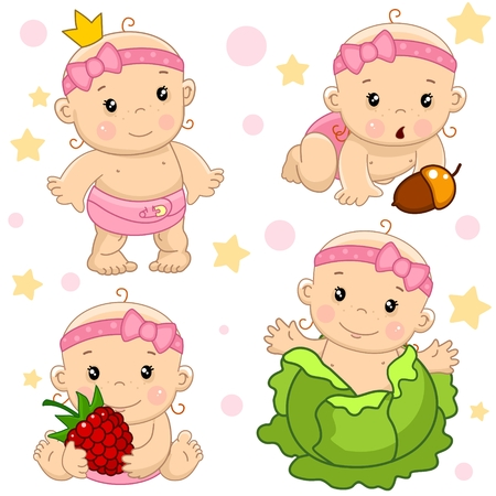 Set of cartoon icons for kids and baby design. The girl was born in the cabbage