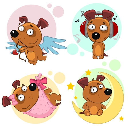 Set of cartoon icons for kids and dog design.