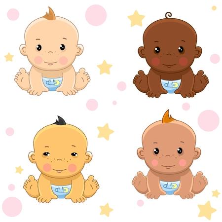 Baby and children group. Yellow eyes, white and bronze Vektorgrafik