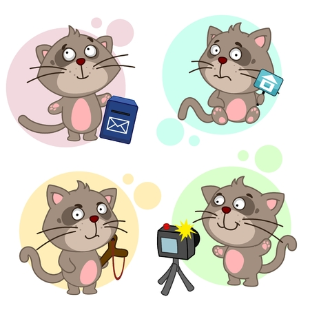 The third part of the design for cats. A cat stands near a mailbox, a cat stands a camera, a cat with a camera.