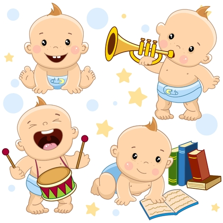 Collection of baby icon. He has a lot of music, knocks on his drum play.