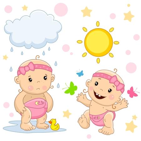 Cute baby girl icon.
