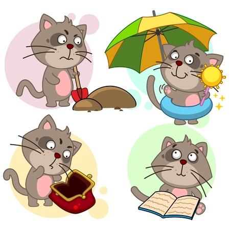 Set of cute cat icon Иллюстрация