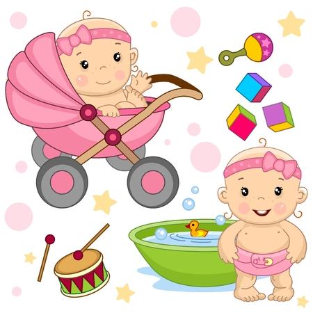 Conjunto de icono de niña linda bebé