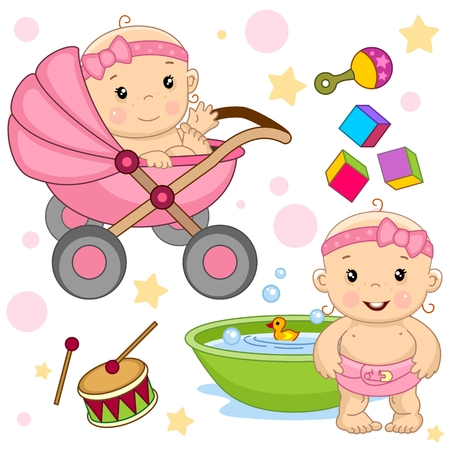 Set of cute baby girl icon