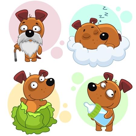 Set of cute dog icon