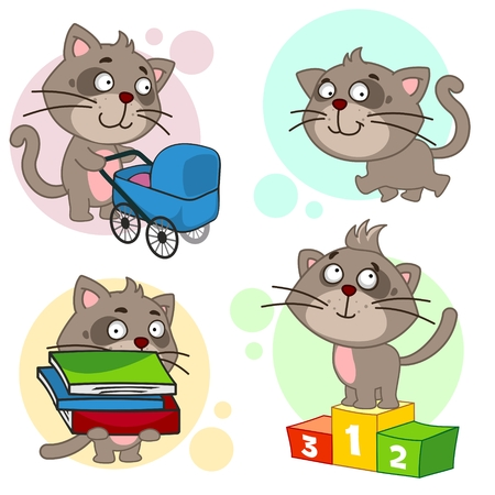 Collection of icons for cats. A cat with a baby stroller, a cat with walking, a cat with a pile of books, a cat with a baby
