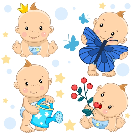 Set of cute bay icon. For girls, children, princess, catches butterfly