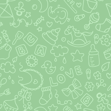 Green pattern for kids and design. Background with toys and objects. Horse, pyramid, cubes, love, whirligig, bucket, fork, spoon, cloud, flowers, elephant, duckling, nipple, sock, pin, comb, butterfly and bow