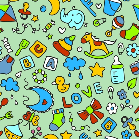 Multicolored pattern for kids and design. Background with toys and objects. Horse, pyramid, cubes, love, whirligig, bucket, fork, spoon, cloud, flowers, elephant, duckling, nipple, sock, pin, comb, butterfly and bow