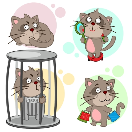 Set of cute cat icon Stock Illustratie