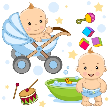 Set of cute baby icon. A girl is in the bath, a baby in a stroller