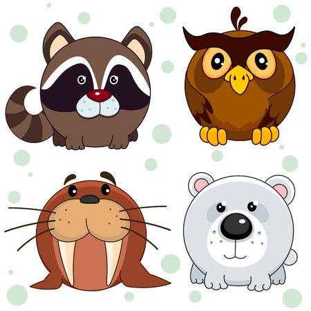 Set of beautiful circles animal icons