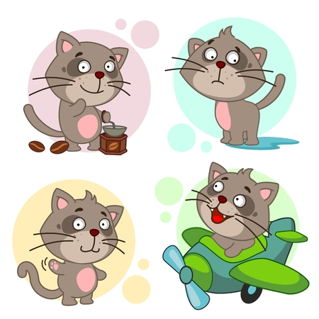 Set of cute cat icon Иллюстрация