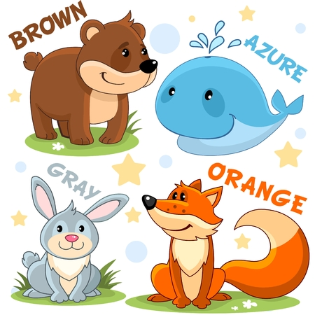 Set of different colors with animals for children. For education. Brown bear, azure whale, gray rabbit and hare and orange fox. Stock Illustratie