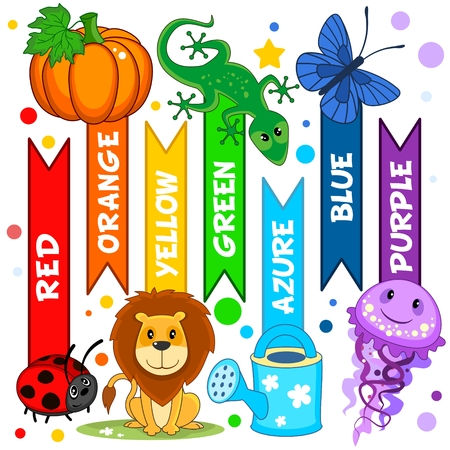 Set of colorful pictures for children. For education. Colors are red, yellow, orange, green, blue, azure and purple. Image of pumpkin, butterfly, lion, ladybug, watering can, lizard, jellyfish.