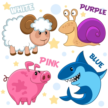 Set of different colors with animals for children. For education. Pictures of white, blue shark, purple snail, pig pink. Stock Illustratie