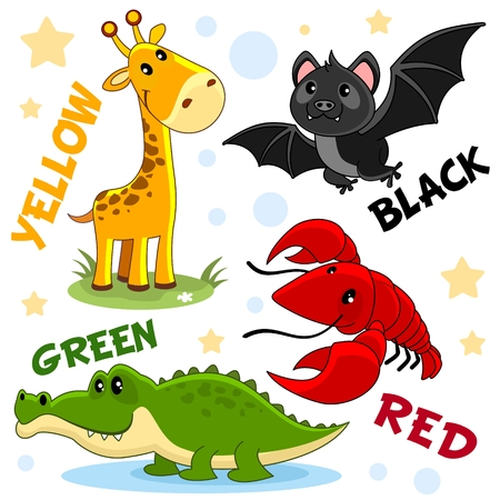 Set of different colors with animals for children. For education. The colors are black bat, yellow giraffe, green crocodile, red crab.