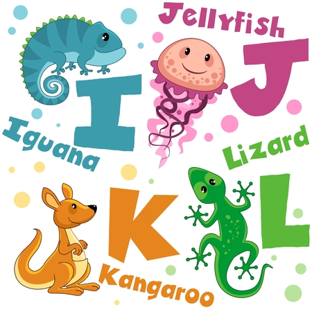 Letters from the English alphabet. For the education of children. Animal characters are jellyfish, iguana, kangaroo and lizard.